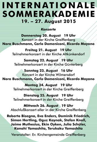 Internationale Sommerakademie 2015 in Greiffenberg